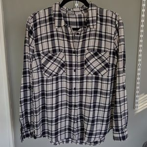 Distressed Oversized Flannel Shirt